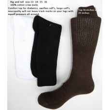 13-17 men's 100% cotton Comfort Top Crew Socks  Big and Tall