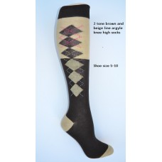 SZ 5-10 (2) Tone brown and beige knee high argyle socks
