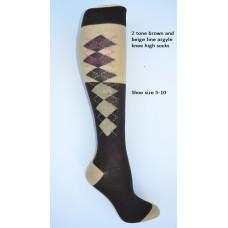SZ 5-10 (2) Tone brown and beige knee high argyle socks