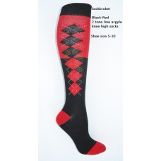 SZ 5-10 (2) Tone black and red knee high argyle socks