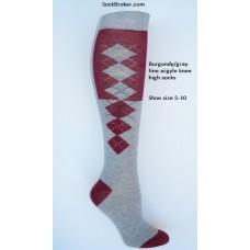 SZ 5-10 (2) Tone gray and burgundy knee high argyle socks