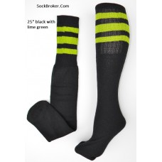 "23""  Black tube socks with three lime green stripes knee high socks"