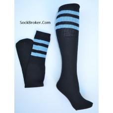 "23""  Black tube socks with three sky blue stripes knee high socks"
