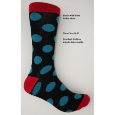 Black with large blue Polka-Dot Socks Size 8-12