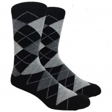 Back and Gray Cotton Argyle Dress Socks