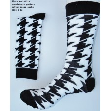 Black and white hounds-tooth cotton dress socks-Men's 7-12