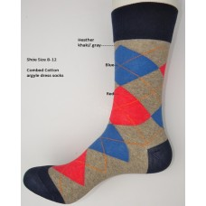Heather khaki red blue combed cotton argyle dress socks size 8-12