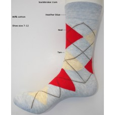 Light heather blue red tan combed cotton argyle dress socks size 8-12