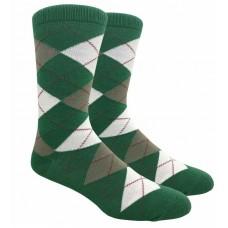 Hunter Green Cotton Argyle Dress Socks