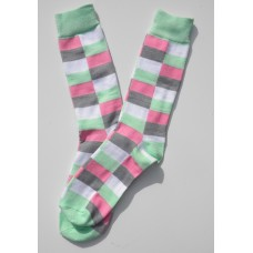 Mint green white and gray square box cotton argyle  dress socks
