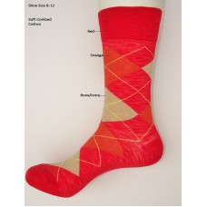 Red orange ivory combed cotton argyle dress socks size 8-12