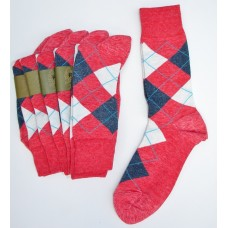Heather raspberry red with white blue cotton argyle socks Size 7-12