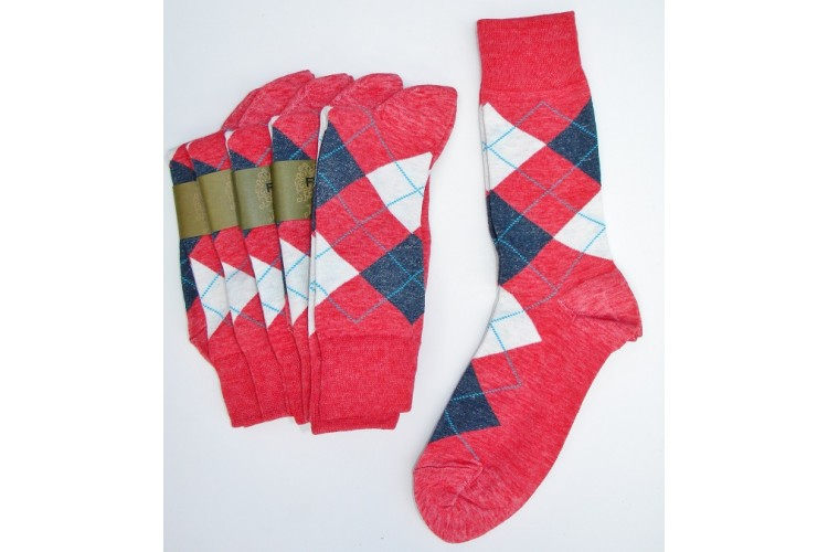 Heather Raspberry Red With White Blue Cotton Argyle Socks