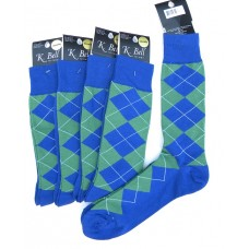 K.Bell Royal blue and green cotton argyle dress socks-Men's