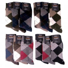 12 Small Mens Assorted Cotton Argyle Socks