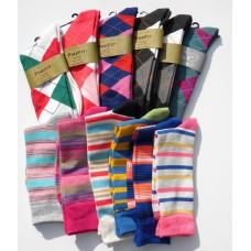 Chrismas 50% Of!! 12 pairs of Argyle & Striped Cotton Crew Socks