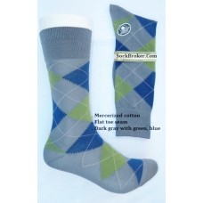 Vannucci Gray and green mercerized cotton argyle socks-men's