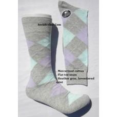 Vannucci Light gray with sky blue and light purple mercerized cotton argyle socks-men's