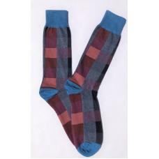 Vannucci Fancy Charcoal  Big & Tall Mercerized Cotton Dress Socks