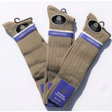 Khaki Big & Tall Premium Windsor  Merino Wool Dress Socks