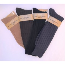 EZ Wide Top Microfiber Ribbed Nylon Dress Socks