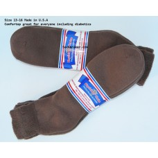 12 pairs 13-15 Brown U.S.A Made Ankle Cotton Diabetic Crew socks
