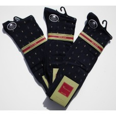 50% OFF 3 Pairs Navy  Big & Tall Designer Cotton Patterned Dress Socks