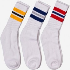 Pack of sz 5-9 White 3 stripe old school cotton crew socks