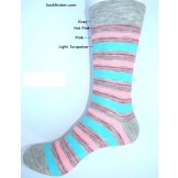 Small Gray Striped with pink and bl..