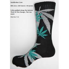 Black marijuana leaf padded  thick N thin cotton crew socks