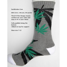 Charcoal gray marijuana leaf padded  thick N thin cotton crew socks