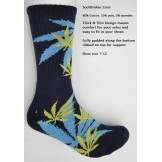 Navy marijuana leaf padded  thick N..