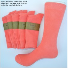 Coral Peach Combed Cotton Dress Socks