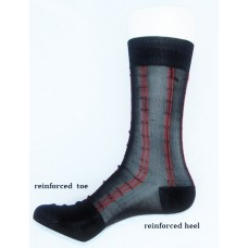 Sheer nylon black dress socks with red pinstripe men's
