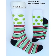 Men's green polka-dot striped cotton dress socks
