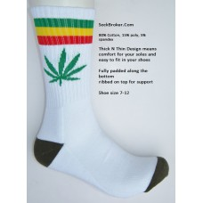 White with red and green striped marijuana leaf padded  thick N thin cotton crew socks