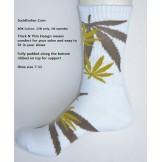 White with brown marijuana leaf pad..