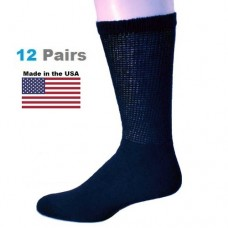 U.S.A Made 12 Pair Navy Cotton Comfort Top Diabetic Crew Socks