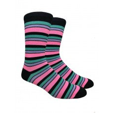 Black with Fuschia Pink Cotton Striped Dress Socks
