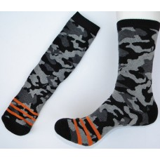Black/ Gray Camouflage Padded Cotton Dress Socks