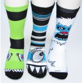 3 pairs of Monster cotton crew sock..