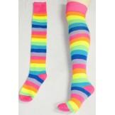 Thigh High Neon Pink Rainbow Stripe..