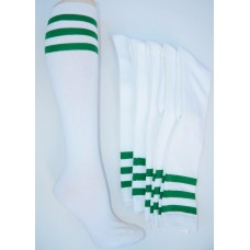 White knee high with three kelly green striped  socks