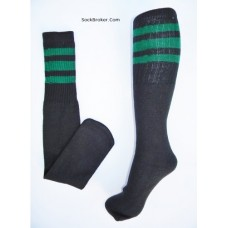 "23""  Black tube socks with kelly green stripes knee high socks"
