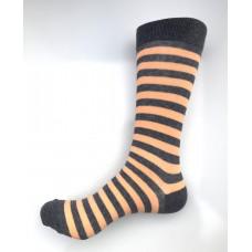 Gray And Peach Striped Cotton Dress Socks