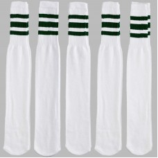19 inch White with three ( 3 ) pine green stripes tube knee high socks