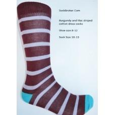 Burgundy with lilac cotton striped dress socks size 8-12
