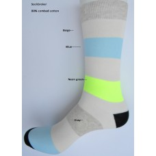 SALE!!! 3 Pairs Beige with blue neon green and gray stripe socks- Men's 7-12