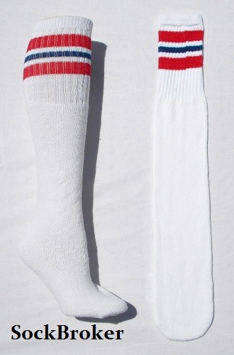 e825d73fb 23 inch White tube socks red and royal blue striped knee high socks
