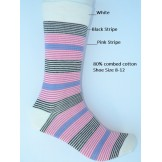 White with pink and black striped d..
